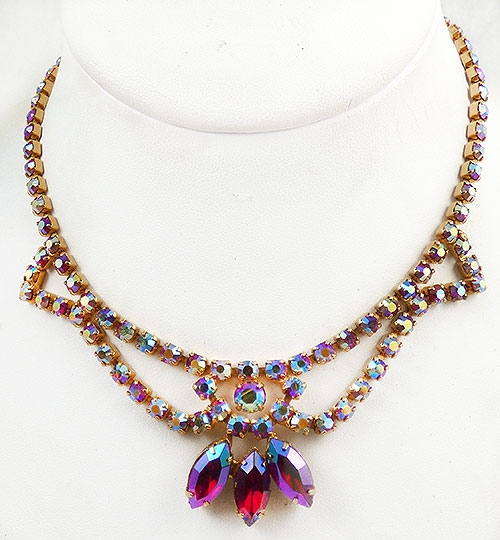 Newly Added Red Aurora Rhinestone Necklace