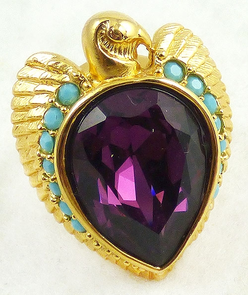 Figural Jewelry - Birds & Fish - Elizabeth Taylor Amethyst Falcon Ring