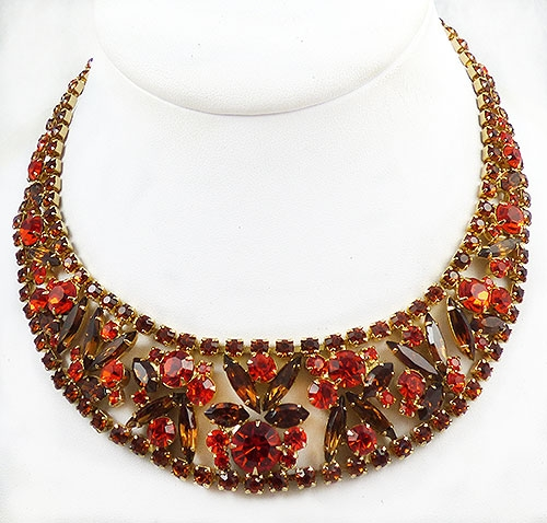 Newly Added DeLizza and Elster Orange Topaz Rhinestone Necklace