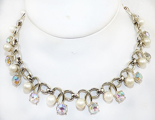 Pearl Jewelry - Pearl and Aurora Rhinestone Necklace