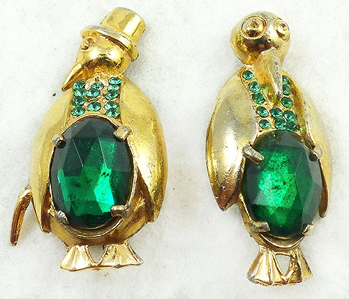 Figural Jewelry - Birds & Fish - Gold Plated Green Rhinestone Penguin Brooches