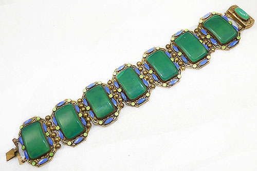 Newly Added Czech Chysoprase Panel Bracelet