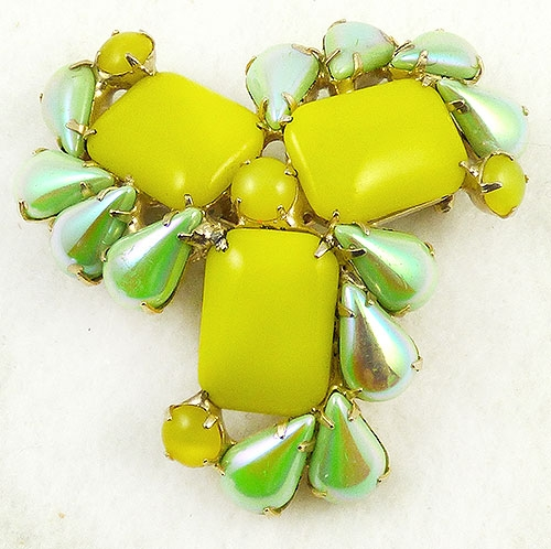 Newly Added Canary Yellow and Green Iridescent Glass Brooch