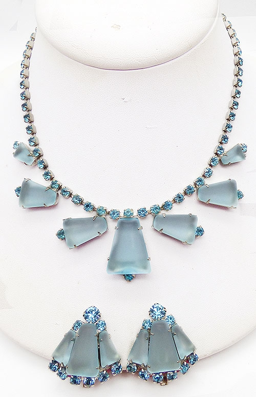 Newly Added Aqua Frosted Rhinestone Necklace Set