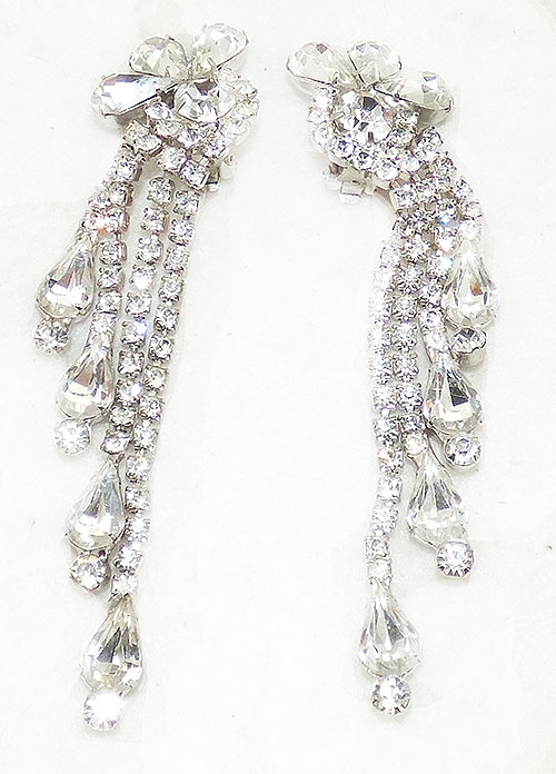 Newly Added Vintage Clear Rhinestone Waterfall Earrings