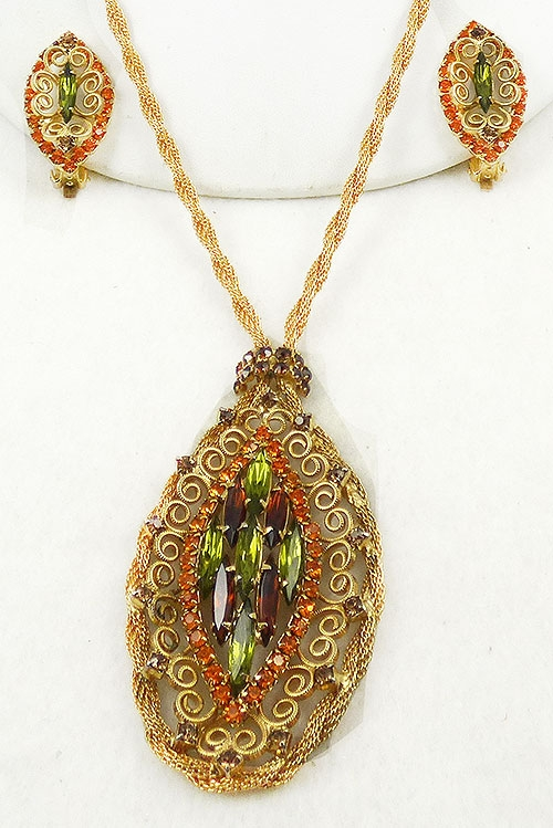 Autumn Fall Colors Jewelry - Twisted Mesh Chain Rhinestone Necklace Set