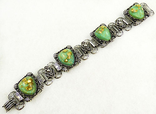 Newly Added Green Confetti Lucite Silver Link Bracelet