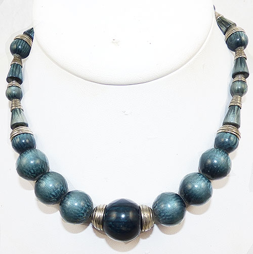 Newly Added French Art Deco Galalith Bead Necklace