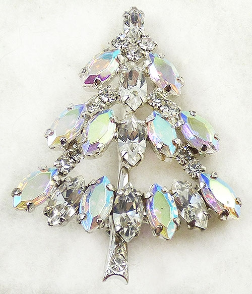 Newly Added Crystal Aurora and Rhinestone Christmas Tree Brooch