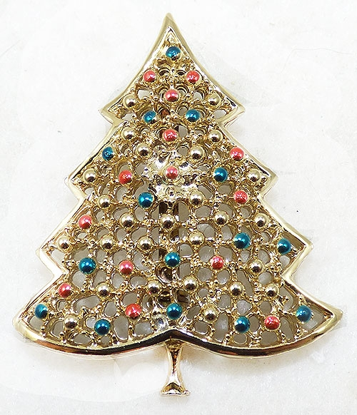 Misc. Signed A-F - BJ Gold Tone Lattice Christmas Tree Brooch