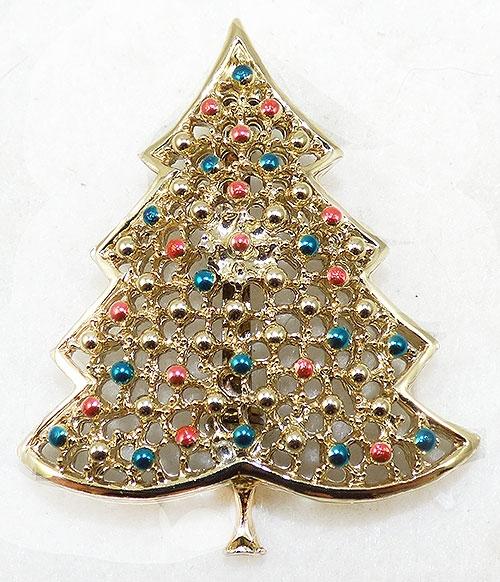 Christmas and Holidays - BJ Gold Tone Lattice Christmas Tree Brooch