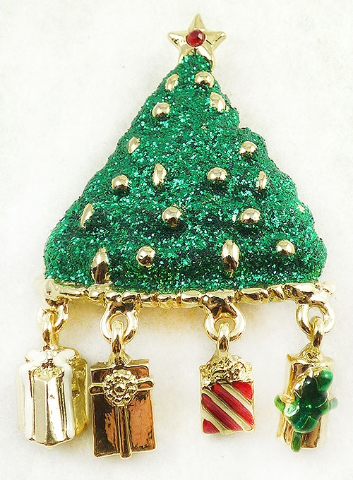 Newly Added Danecraft Green Glitter Christmas Tree Brooch