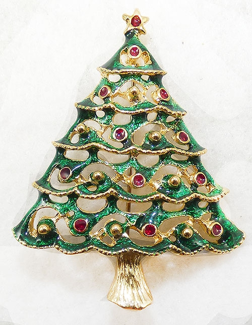 Brooches - Green Enamel Christmas Tree Brooch