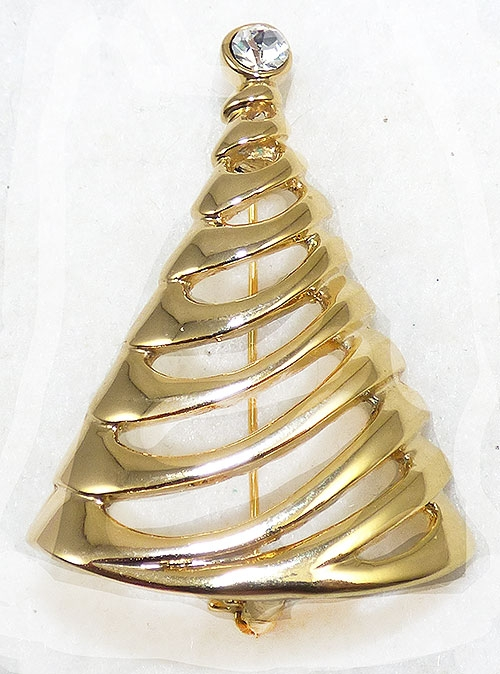 Brooches - Danecraft Gold Tone Christmas Tree Brooch