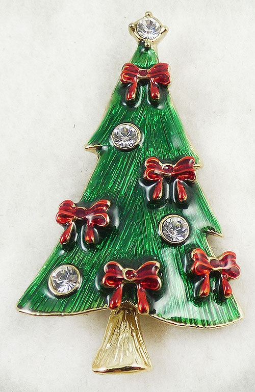 Christmas and Holidays - Green Enamel Christmas Tree Brooch