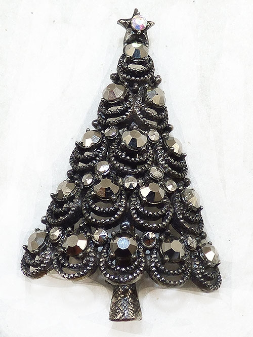 Newly Added Pakula Hematite Rhinestone Christmas Tree Brooch