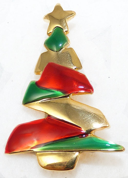 Brooches - Danecraft Zig-Zag Christmas Tree Brooch