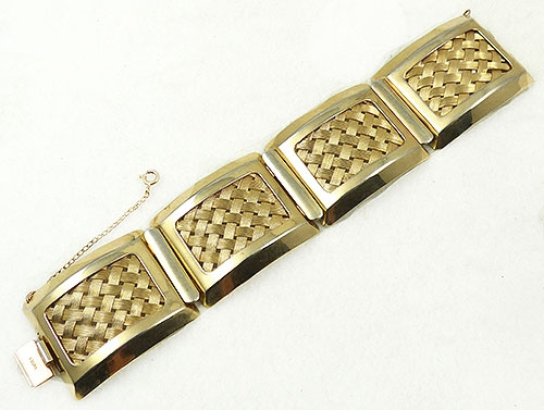 Newly Added Napier Gold Basket Weave Panel Bracelet