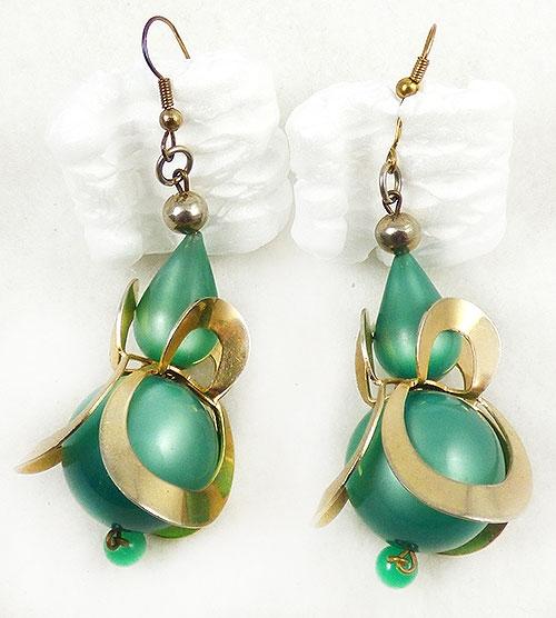 Earrings - Green Moonglow Lucite Dangle Earrings