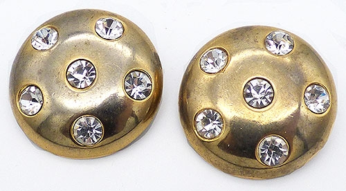 Misc. Signed A-F - Ellen Designs Rhinestone Studded Earrings