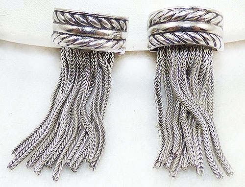 Whiting & Davis - Whiting & Davis Silver Tassel Earrings