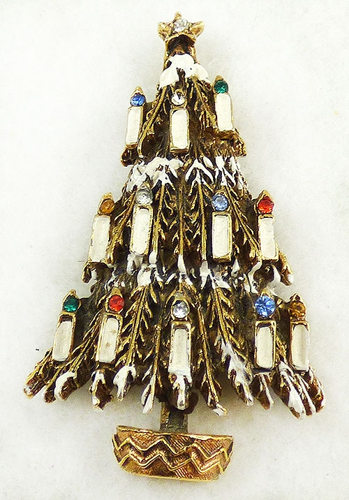Christmas and Holidays - Art White Candle Christmas Tree Brooch