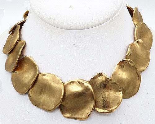 Newly Added Ciner Gold Disc Link Necklace