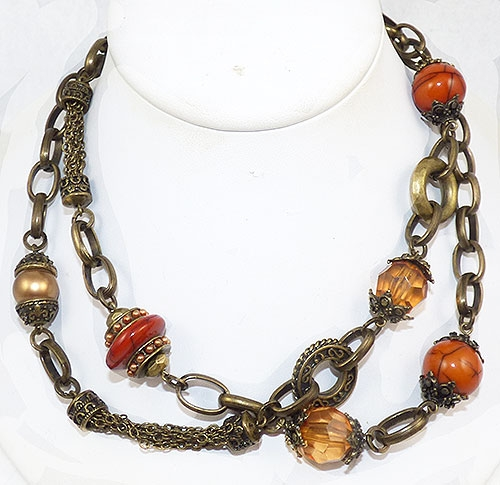 Trend 2020-2021: Chunky Chains - Brass Chain Autumn Beads  Necklace