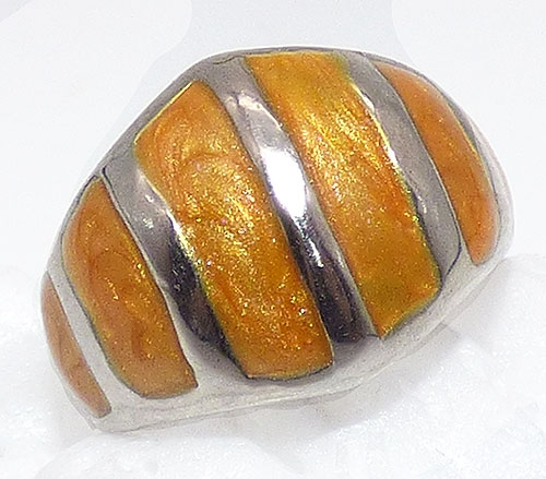 Newly Added Gold Metallic Enamel Striped Ring