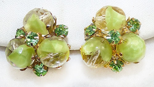 Vogue - Vogue Lime Givre Glass Bead Earrings