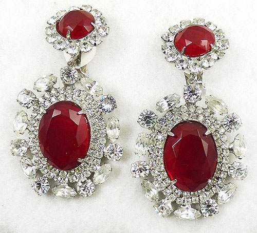 Lane, Kenneth J. - Kenneth Lane Red Rhinestone Statement Earrings