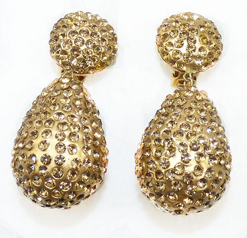 Collectible Contemporary - Kenneth Lane Gold Rhinestone Statement Earrings