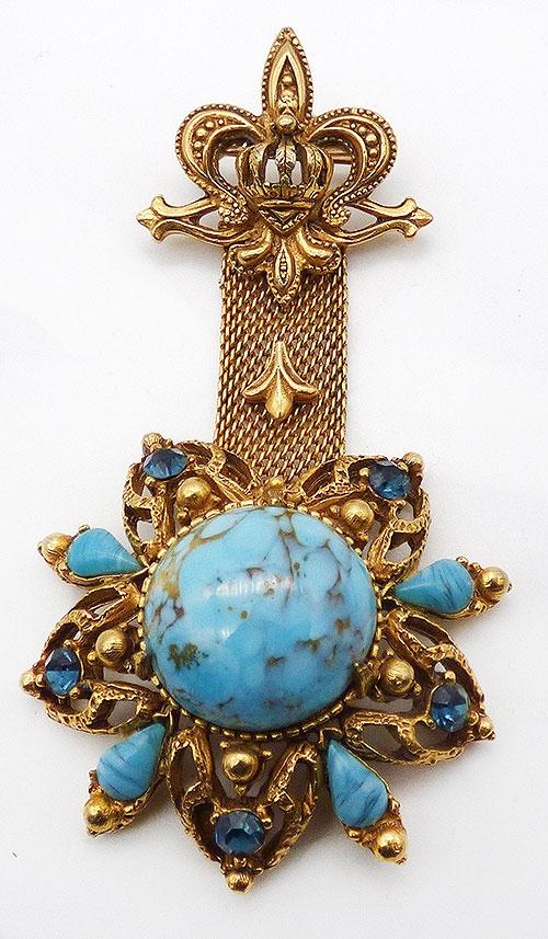 Newly Added Florenza Aqua Cabcichon Fob Style Brooch