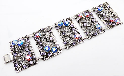 Misc. Signed A-F - Thelma Deutsch Wide Panel Link Bracelet