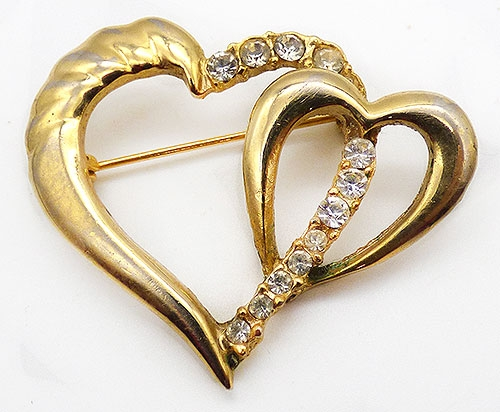Newly Added Gold Tone Double Heart Brooch