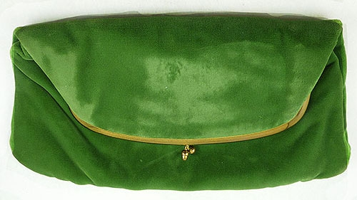 Newly Added Green Velvet Fold Over Clutch Purse