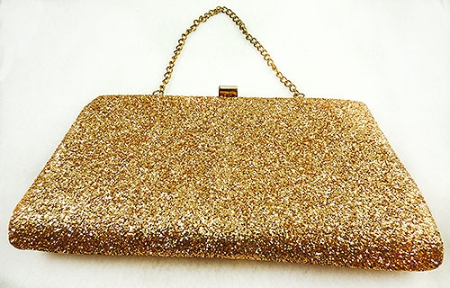 Purses - Vintage Gold Glitter Clutch Purse