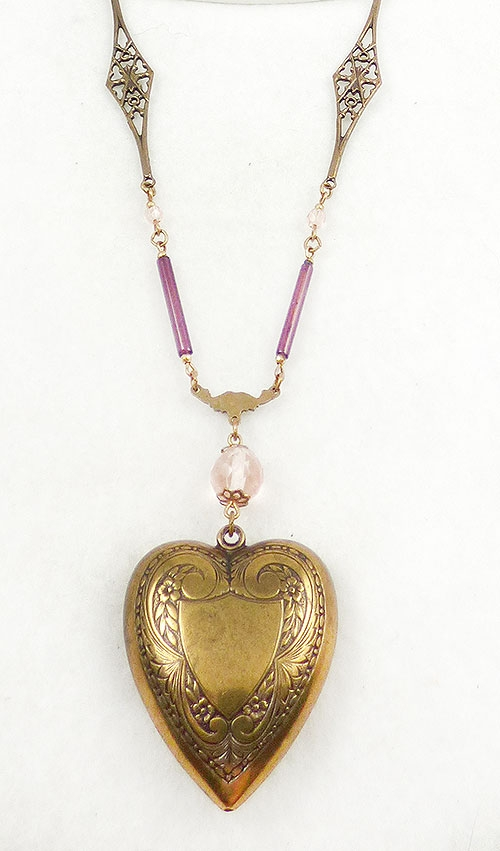 Hearts - Sadie Green Brass Heart Necklace