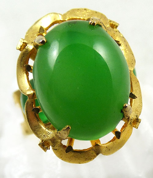 Newly Added Gold Plated Jade Glass Cocktail Ring