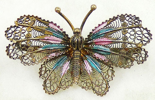 Newly Added Gilded Silver Enamel Filigree Butterfly Brooch