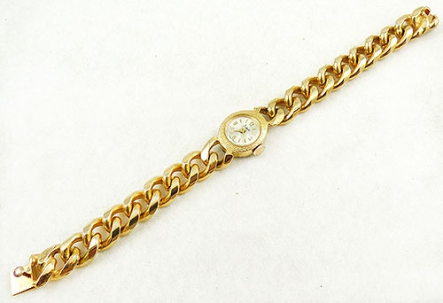Newly Added Sheffield Gold Curb Chain Ladies Wristwatch