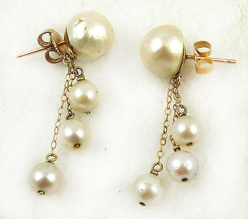 Pearl Jewelry - Vintage 10k Gold Pearl Dangling Earrings