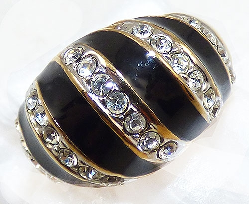 Collectible Contemporary - Black Enamel and Rhinestone Fashion Ring
