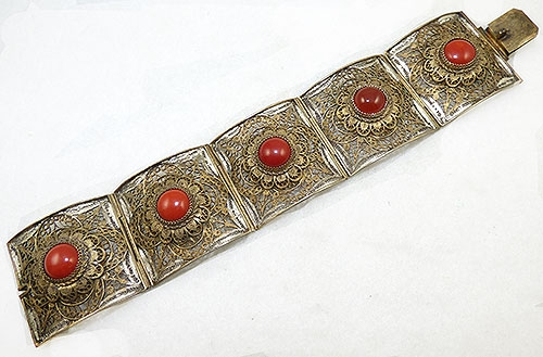 Bracelets - China Gilded Silver Filigree Carnelian Bracelet