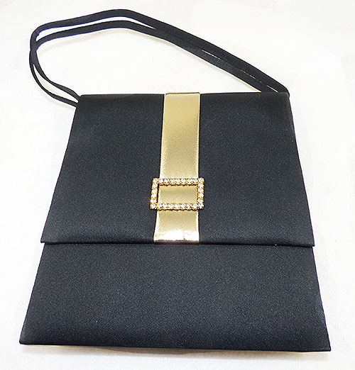 Newly Added Black Peau de Soie Gold Ribbon Purse