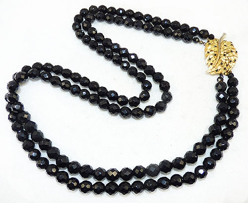 Necklaces - French Jet Bead Gold Leaf Clasp Double Necklace