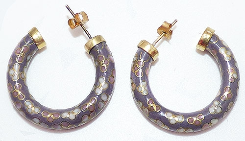 Newly Added Lavender Cloisonné Hoop Earrings