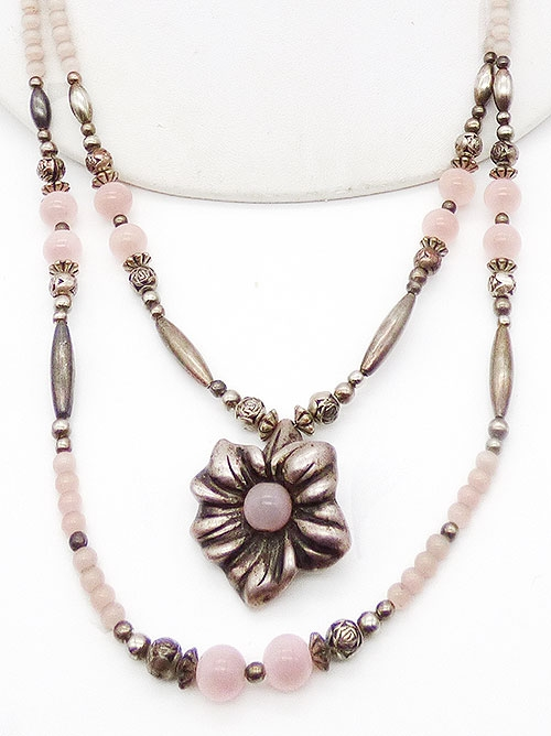 Newly Added Silver Flower Pink Quartz Bead Necklace