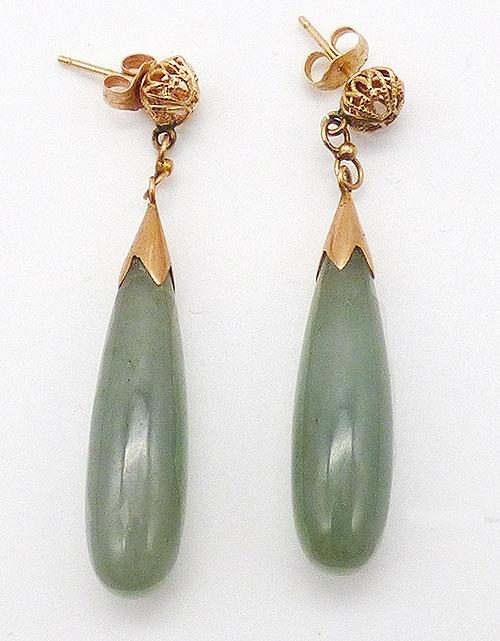Semi-Precious Gems - 14K Gold Filigree Jade Drop Earrings