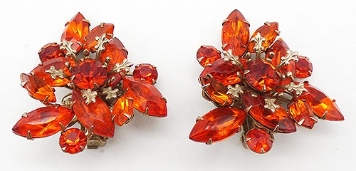 Earrings - Beau Jewels Orange Rhinestone Earrings